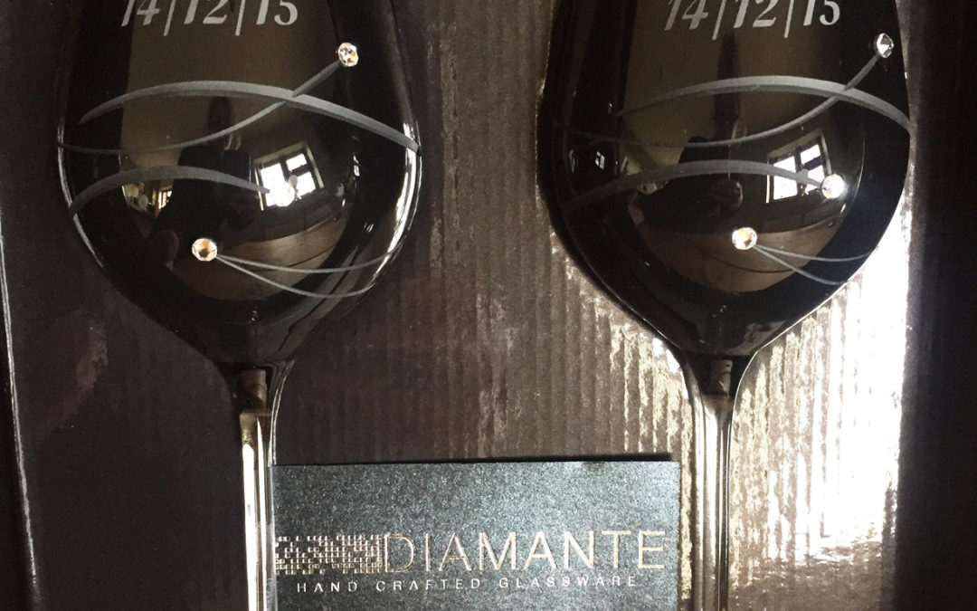 Black Diamante Wine Glasses – Wedding Anniversary