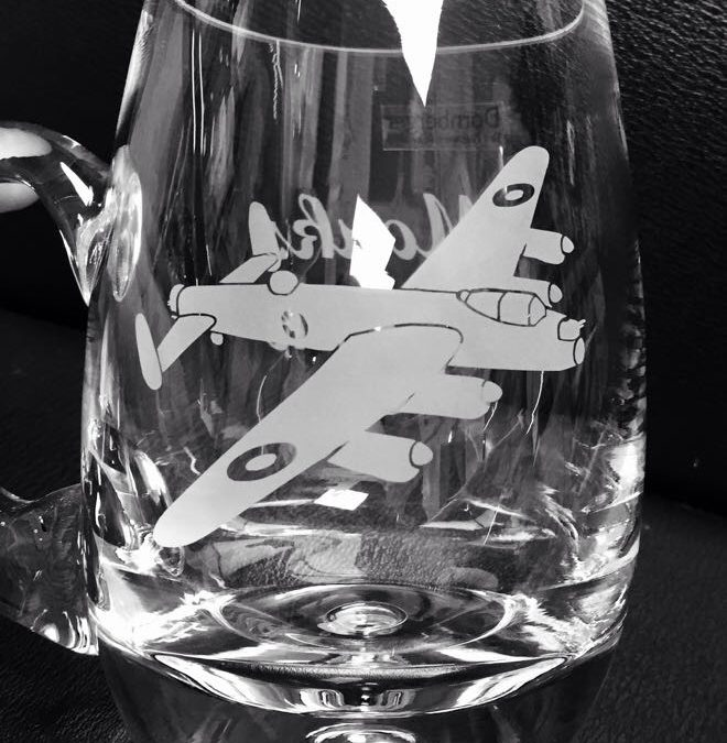 Glass Bubble Base Tankard – Lancaster Bomber