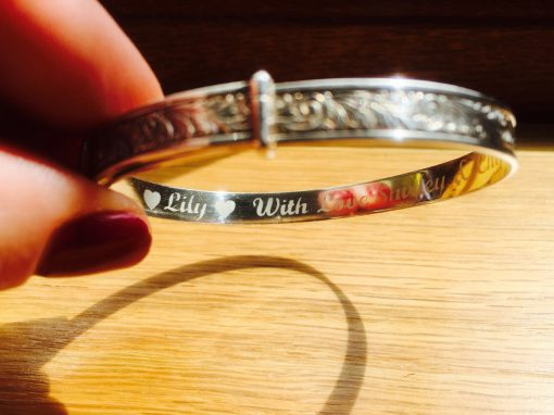Silver bangle – message