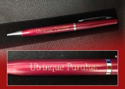 Red pen – latin engraving